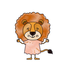 Color crayon silhouette caricature of cute lion in vector