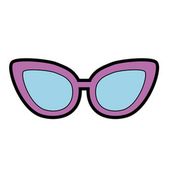 Cute purple glasses cartoon vector