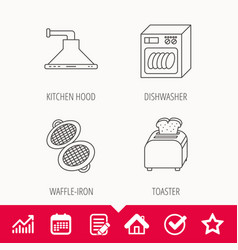 Dishwasher waffle-iron and toaster icons vector