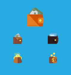 Flat icon billfold set of wallet finance payment vector