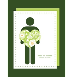 Green and golden garden silhouettes man in vector