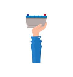 Hand holding car battery accumulator sell flat vector