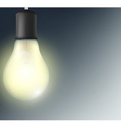 incandescent lamp on a dark blue background vector image vector image