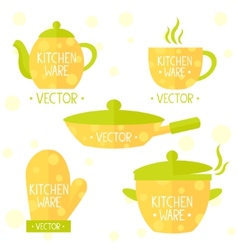 kitchenware flat set vector image vector image