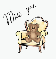 Miss you note with bear valentines day greeting vector