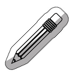 monochrome sticker silhouette of pencil with vector image