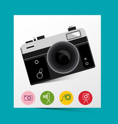 Retro analog photo camera with photography icons vector