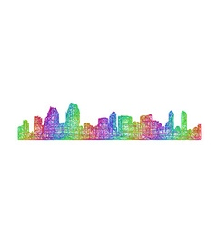 San diego skyline silhouette - multicolor line art vector