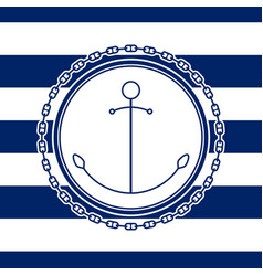 Sea emblem with anchor vector