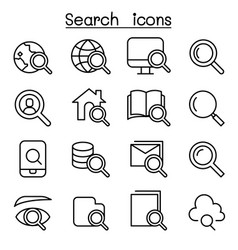 search icon set in thin line style vector image vector image