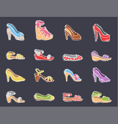 Set of womens shoes flat design hand drawn vector