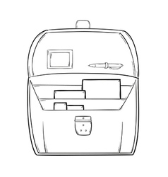 sketch of the open briefcase with documents vector image