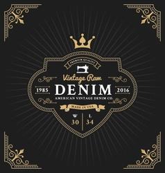 Vintage frame label design for denim and apparel vector