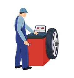 Wheel balancer single icon in cartoon style for vector