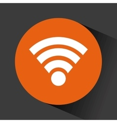 Wireless icon in orange circle vector