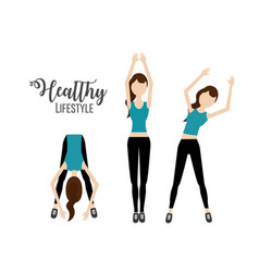 Woman doing exercise to healthy lifestyle vector