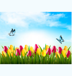 Nature background with green grass flowers and a vector