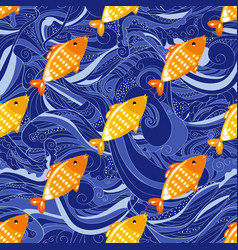 fish seamless pattern on blue wave background vector image
