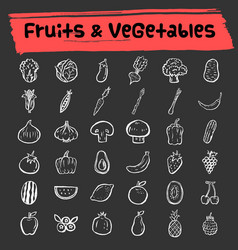 fruit and vegetable doodle icon set vector image