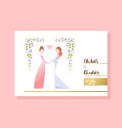 Lesbian couple getting married vector