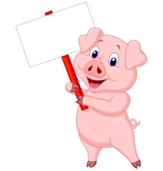 Pig cartoon holding blank sign vector image