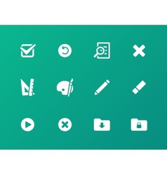 Application interface icons on green background vector