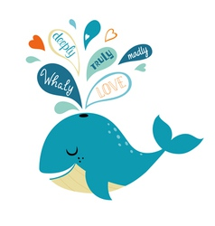 Whale in love vector