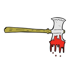 Comic cartoon bloody axe vector