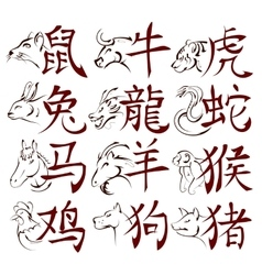 Chinese zodiac signs with hieroglyphs vector