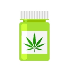 Medicine cannabis bottle vector