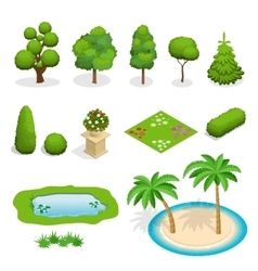Isometric flat trees elements for landscape vector
