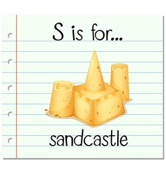 Flashcard letter s is for sandcastle vector