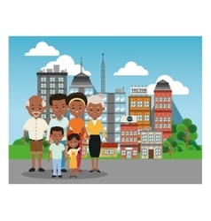 Grandparents parents and kids icon family design vector