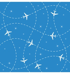 Airplane routes and stars seamless vector image vector image