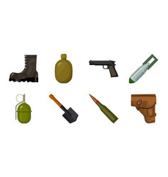 Army and armament icons in set collection for vector