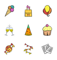 Birthday celebration icons set cartoon style vector