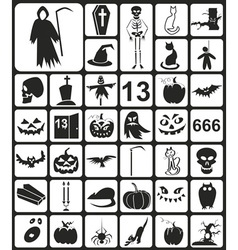 Black halloween icons vector