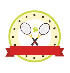 color circular emblem with ribbon and ball and vector image vector image