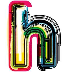 Colorful grunge font letter h vector