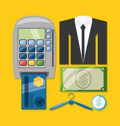 Credit card payment suit and cash shopping concept vector