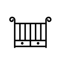 crib thin line icon outline symbol baby cot for vector image vector image