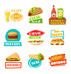 Fast food menu icons set for meals vector