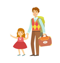 Father with her daughter going to travel colorful vector
