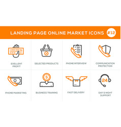 Flat line design concept icons for online shopping vector