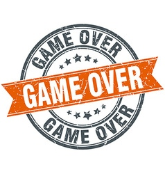 Game over round orange grungy vintage isolated vector