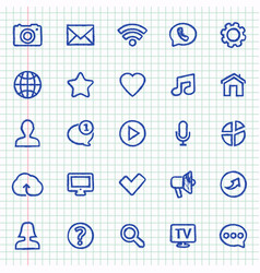 Hand-drawn contact and communication icons on vector