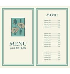 hand menu vector image vector image