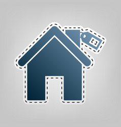 Home silhouette with tag blue icon with vector