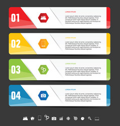 infographic diagram with icon set on dark vector image vector image