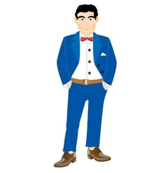 Man in turn blue suit vector image vector image